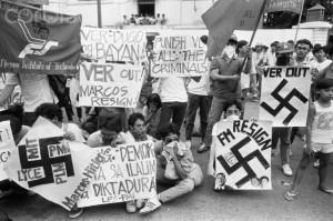 December 1985, Manila, Luzon Island, Philippines --- Student Protest Against Filipino President Ferdinand Marcos --- Image by © Alain Keler/Sygma/Corbis